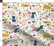 Dog Floral Kids Dogs Four Legged Friend Puppy Dog Spoonflower Fabric By The Yard