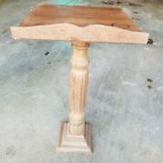 Antique Solid Wood Pedestal Plant Stand / Fern Stand Podium Style - 28 Tall