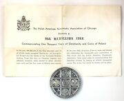 1966 Commemorative 1000 Years Of Christianity And Coins Poland .999 Silver Medal