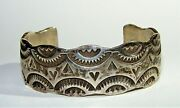 American Indian Sterling Silver Navajo Stamped Cuff Bracelet Nelson Burbank