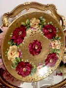 Royal Viena Handpainted Cabbage Red Yellow Roses Gold Plate Raised Pattern Signa