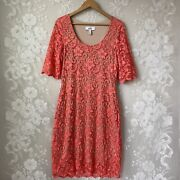 Belle Badgley Mischka Coral Floral Lace Overlay Sheath Dress Stretchy Womenandrsquos 14