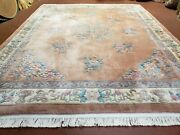 8x10 Chinese Carving Rug Art Deco Carpet 90 Line Peach Color Rug Plush Wool Rug