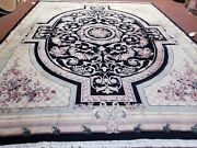 8x10 Savonnerie Rug Aubusson Design Knotted Wool Pile Plush Carpet 8 X 10 Wool
