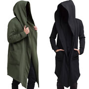 Mens Solid Hoodie Long Jacket Cardigan Casual Trench Cloak Cape Coat Outwear -us