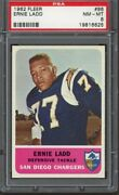 1962 Fleer 86 Ernie Ladd Rookie Card Rc Psa 8 Nm-mt Centered Only 8 Higher