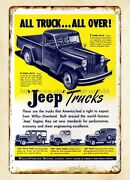 1947 All Truck All Over Jeep Trucks Metal Tin Sign Vintage Metal Wall Hangings