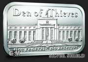 Den Of Thieves 1 Oz .999 Silver Shield Bar Not Federal And No Reserves