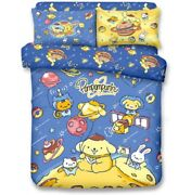 Sanrio Pom Pom Purin Fitted Sheet Pillow Case Duvet Cover Bedding Astronaut Dog