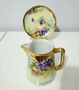 Haviland Limoges Hand Painted Pickard Syrup Pitcher With Underplate- Signed