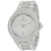 🔥 Mk5869 Camille Silver Pave Crystal Glitz 43mm Womenand039s Watch🔥