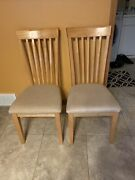 Set Of 2 Wood Dining Chairs Mission Style Ashley Furniture Light Oak Color
