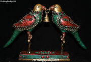 14 Tibet Turquoise Coral Inlay Gem Carve Bells Double Parrot Bird Animal Statue