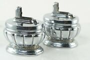 Two Negbaur Table Lighters, Vintage Chrome Tabletop Tobacco Smoking Lighters