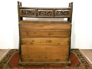 Large Antique Chinese Handmade Carved Wood Wedding Dowry Box Chest