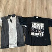 Vintage Raiders T Shirts L Who Let The Dogs Out Hip Hop Trashed Grunge Stripe