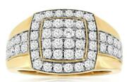 Estate Large 1.50ct Diamond 14kt White And Yellow Gold 3d Cluster Square Mens Ring