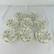 8 Wedgwood Wild Strawberry Tea Cups And Saucers Bone China Made In England