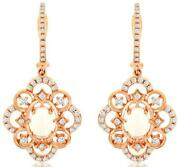 1.05ct Diamond And Aaa Opal 14kt Rose Gold 3d Oval And Round Flower Hanging Earrings