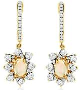 1.22ct Diamond And Aaa Opal 14kt Yellow Gold Round And Oval Flower Hanging Earrings