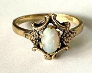 Antique Fm 10k Solid Yellow Gold Opal Ladies Ring Size 5