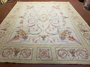 7and039 8 X 9and039 4 Wool Needlepoint Rug Savonnerie Carpet Handmade Bouquets Beige Rug