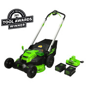 Lawn Mower 60-volt Cordless Battery Self Propelled Walk-behind With Charger 25in