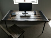 Rustic Industrial Farmhouse Tortured Reclaimed Wood Desk With Hairpin Legs