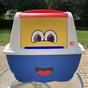 Vintage Step 2 Large Emoji Happy Face Toy Box Ice Chest Storage Yellow Blue Door