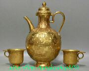 9 Old China 24k Gold Dynasty Palace Female Celestial Wine Glass Flagon Cup Set