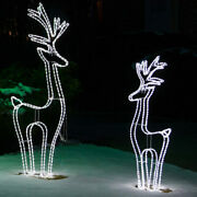 Christmas Rope Light Display Led 3d Deer Outdoor Cool White Holiday Sculptures