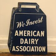 Vintage We Invest American Dairy Association Metal Sign Farm Ranch