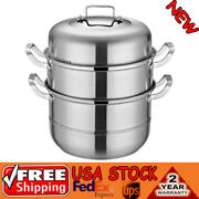 304 Food Grade Stainless Steel 3-layer Steamer Kitchen Use W/visual Glass Lid