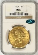 1904 Gold Liberty 20 Double Eagle Ngc Cac Ms63