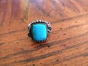 Vintage Sterling Silver And Turquoise Ring Size 7 1/2 -8 1/2 Has Marking