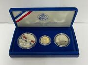 1986 Us Statue Of Liberty 3 Coin Commemorative Proof Set Gold Silver Clad In Ogp