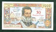 Very Rare Ticket From 50nf On 5000f Henry Iv Of 5 3 59 Ttb +