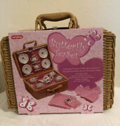 Butterfly Tea Set Basket Toy Kids Play Gift 23 Porcelain Set-23 Pieces