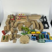 Huge Lot Wooden Train Tracks Signs Trees Set Thomas Brio And More As Is Toys