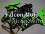 Green Flame Black Complete Fairing Fit For 03-04 Zx6r Ninja 636 Injection Abs At