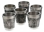 Vintage Western Europe Set Of Glasses With Relief Decor For Six Persons Pewter