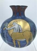 Rare Fritz Heckert Zypernglaser Or Cyprus Glass And Enamel Vase By Max Rade