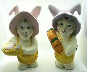 Vintage Easter Bunny Figurines Purple And Pink Tall Cardboard Paper Mache Set