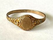 Antique Ob Ostby Barton Classy Floral 9k Solid Gold Signet Ladies Ring Size 7.25
