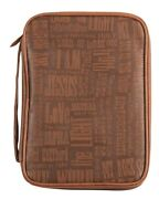 Bible Cover With Handle Names Of Jesus Leather Look Brown 10 3/4 X 8 X 2 In