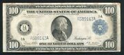 Fr. 1087 1914 100 One Hundred Dollars Frn Federal Reserve Note Boston Ma Vf