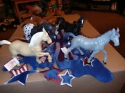 Plastic Horse Lot 5 Figures 7-8and039 Long 5and039 Height Action Animal New W/ Tags