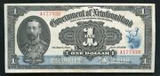 Nf-12d 1920 1 One Dollar Government Of Newfoundland St. Johnandrsquos Xf/au Rare