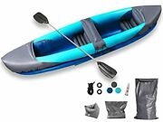 Inflatable Kayak Set 2 Person Boat 10.6ft Tandem Kayak With Aluminum Oars Paddle