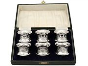 Antique Victorian Sterling Silver Napkin Rings Set Of Six 1897